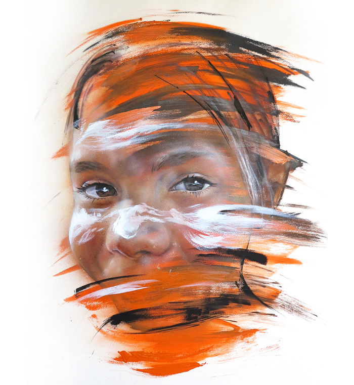 Adnate portrait of an Eyes of the young aborigine child
