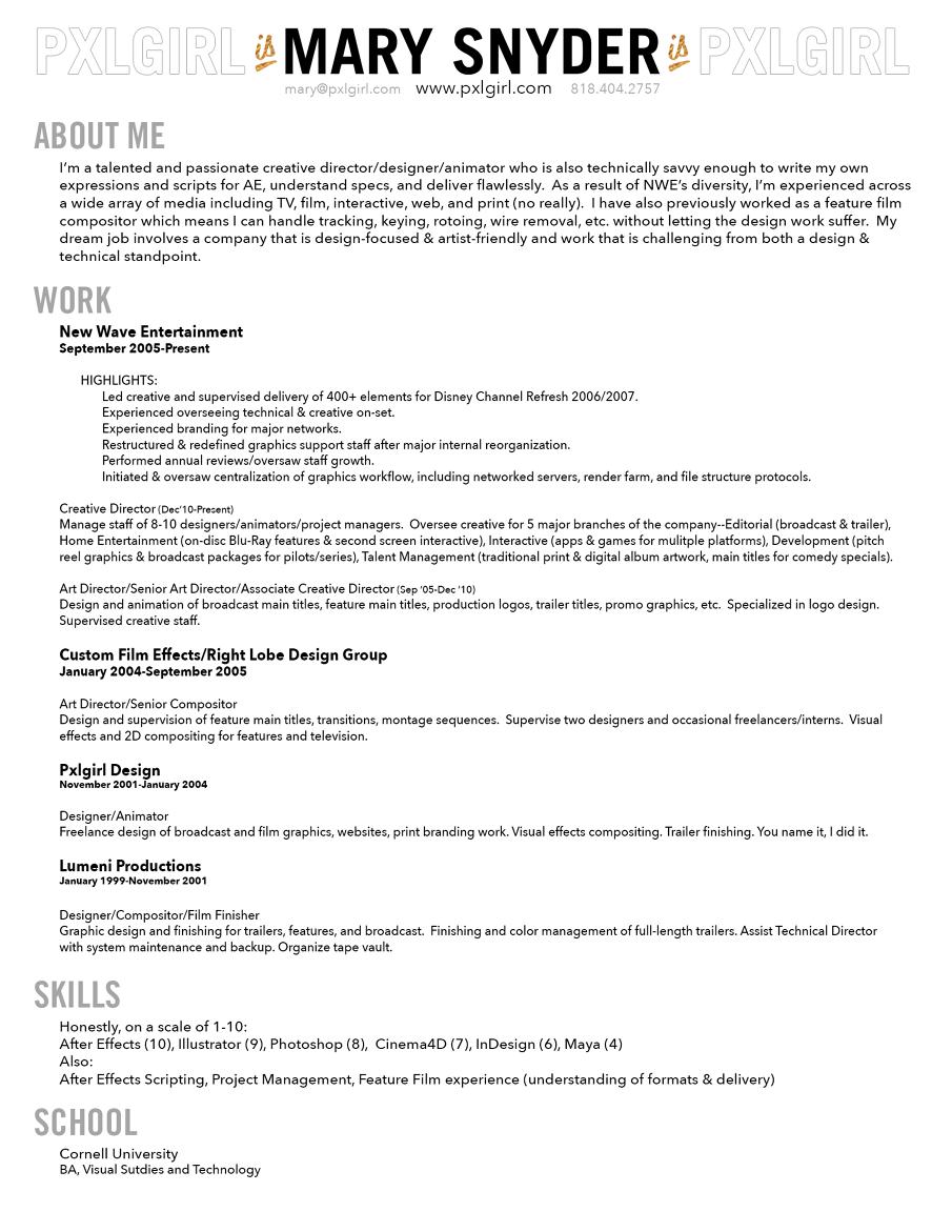 Resume Pxlgirls Portfolio